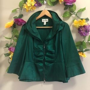 Joseph Ribkoff Emerald Green Short Zippered Blazer
